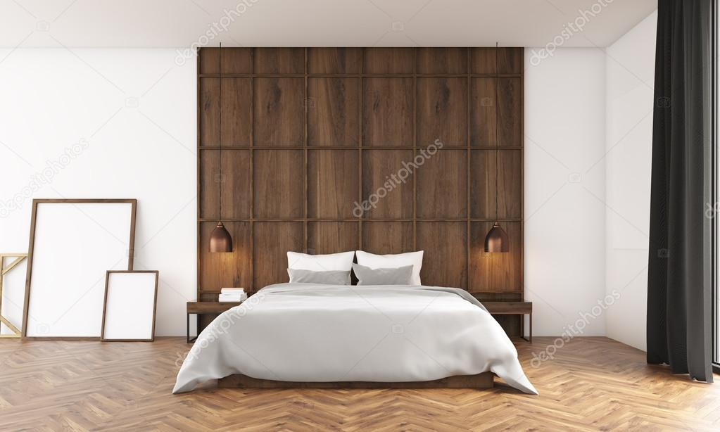 wall posters for bedroom. Bedroom with big window and wooden wall  Posters standing near bed Big comfortable in the center 3D render Mock up Photo by denisismagilov posters Stock
