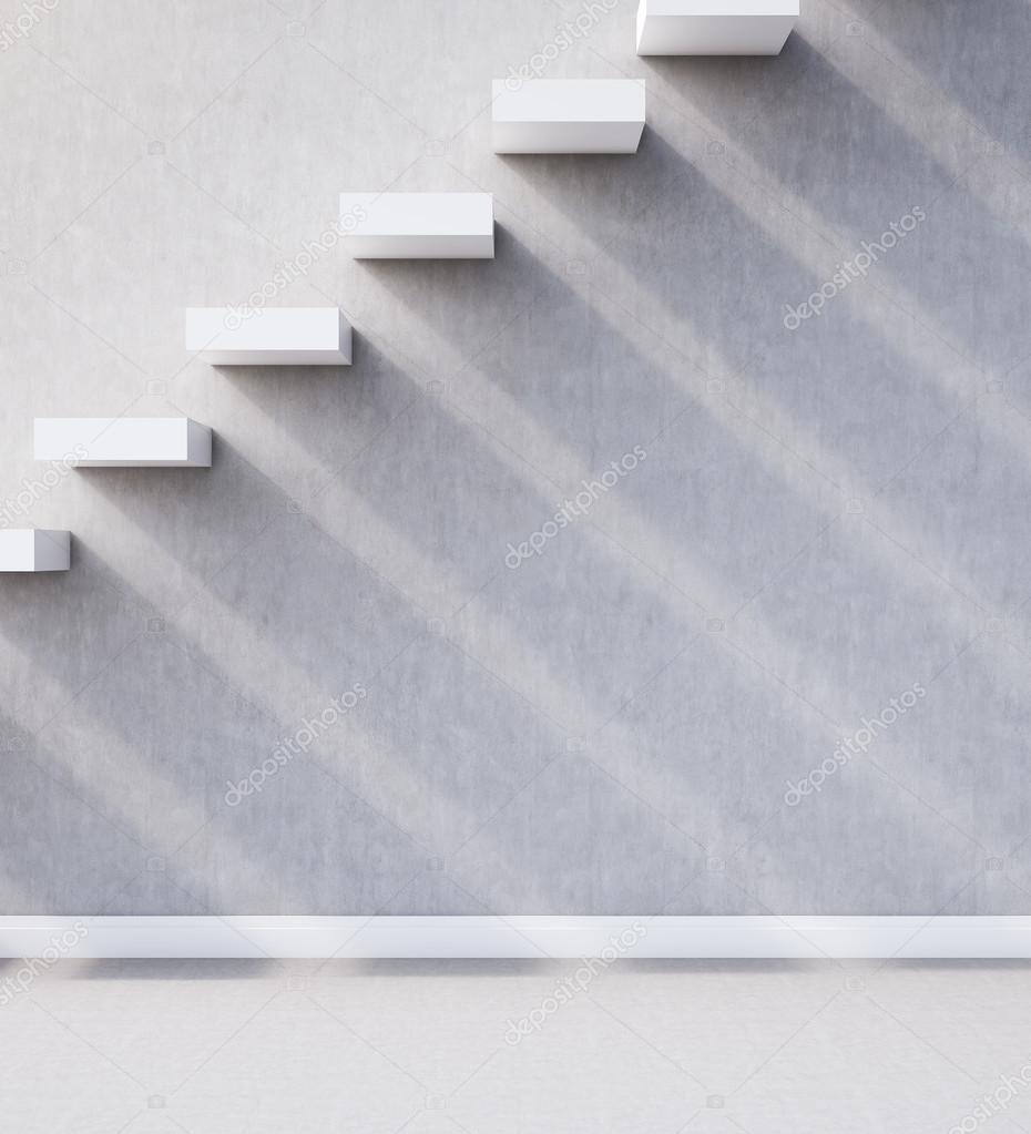 vista lateral de construido en escaleras de hormign y la pared largas sombras concepto