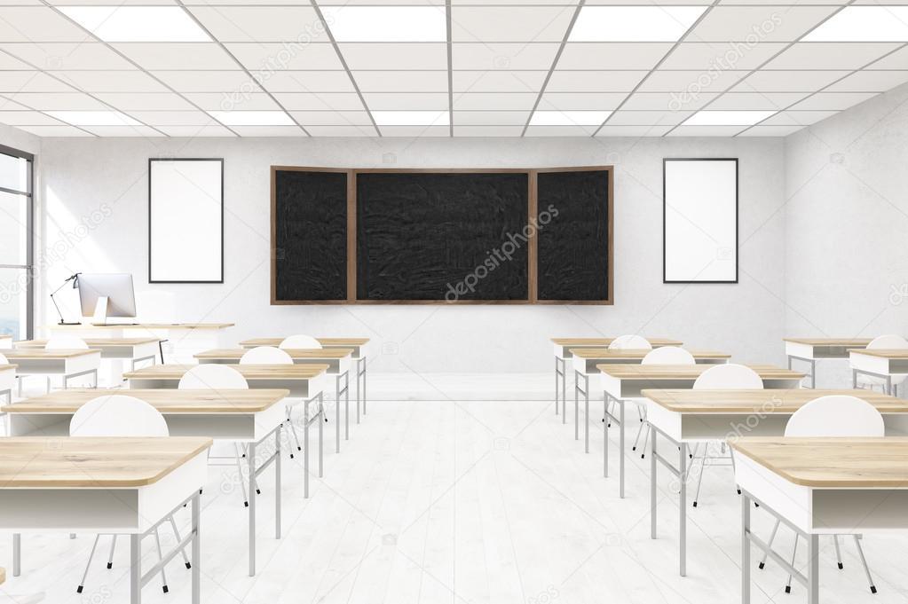 Classroom Design Concept ~ Classroom interior in modern school blackboard desks