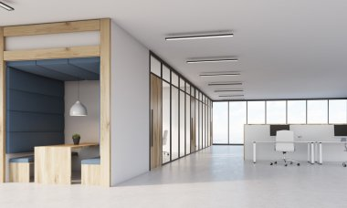 Dining area, cubicles and meeting room