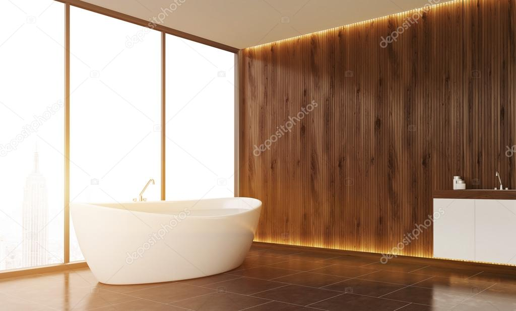 . Bathroom interior with wooden wall  panoramic window with New York