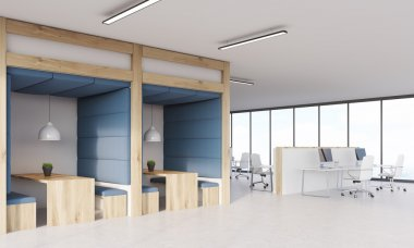 Blue and wooden dining area and cubicles