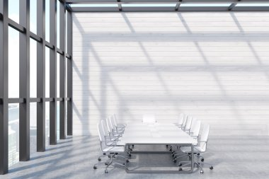 Conference room interior in skyscraper with long white table, office chairs and panoramic window. Concept of board meeting. 3d rendering. Mockup stock vector