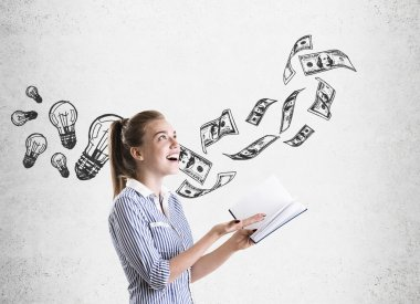 Girl in striped shirt, dollars and light bulbs