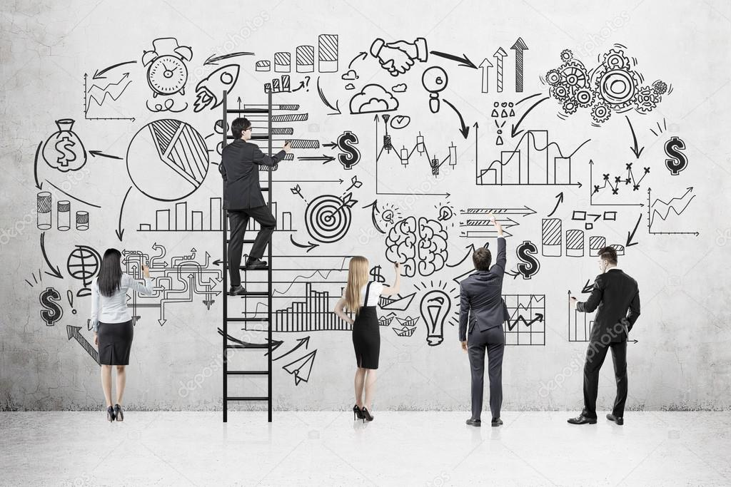 Business team near concrete wall with startup sketch — Stock Photo