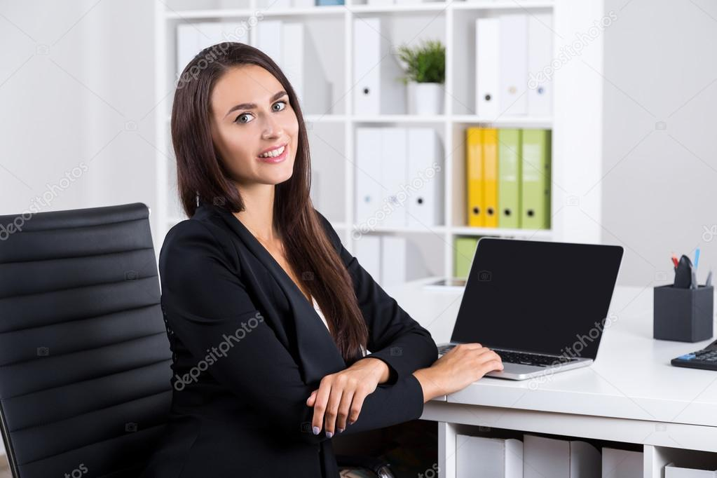 Smiling Lady With Long Hair In Office Stock Photo Denisismagilov