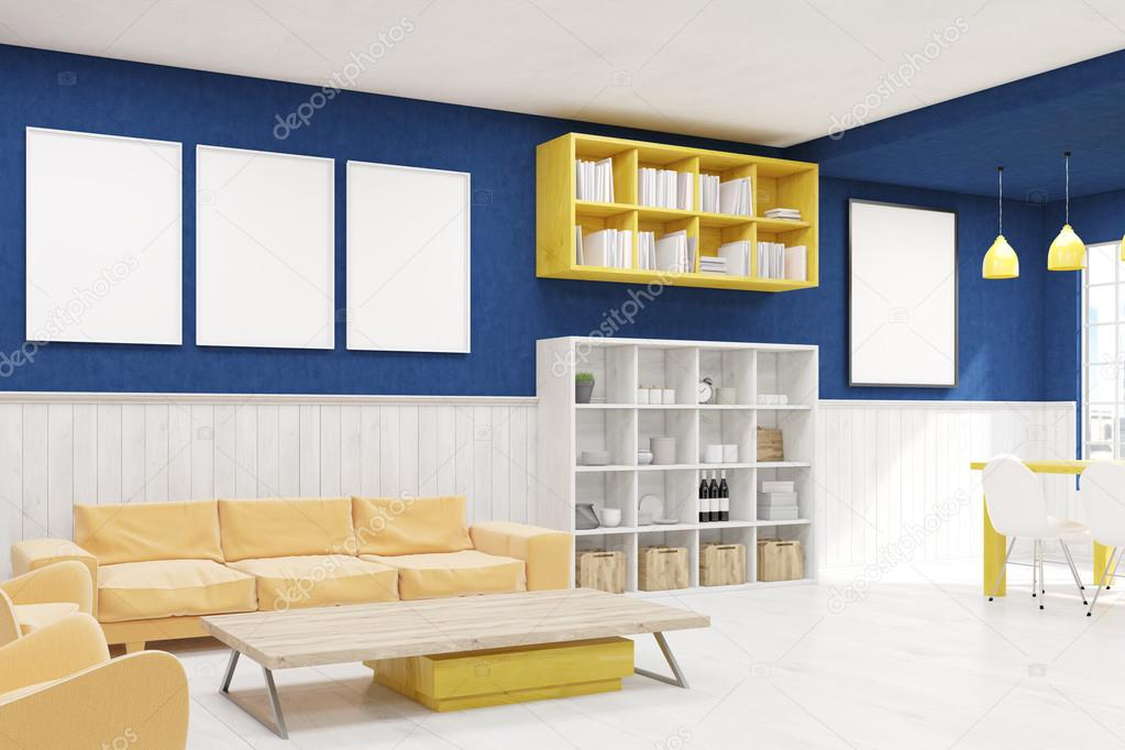 Blauwe muur woonkamer — Stockfoto © denisismagilov #122990416