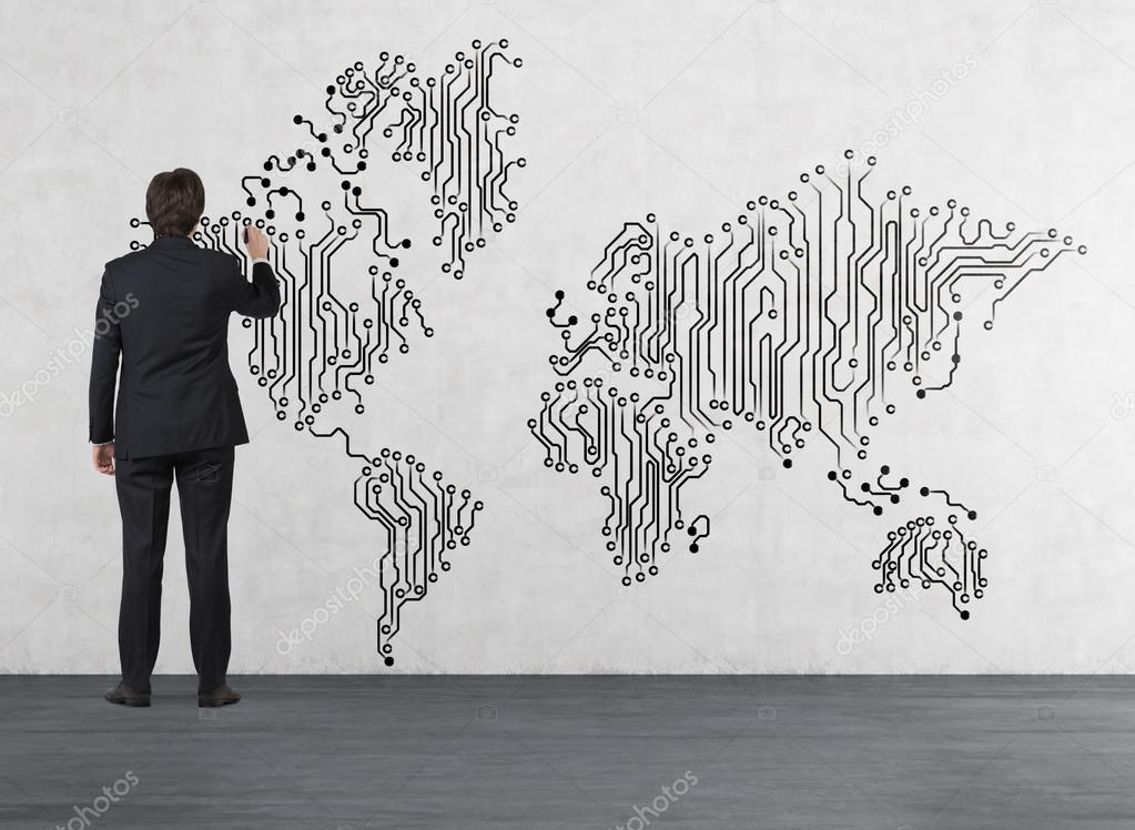 Businessman drawing world map stock photo denisismagilov 60946609 businessman drawing web world map on wall photo by denisismagilov gumiabroncs Images