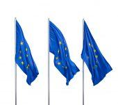 Fotografie three flags of European
