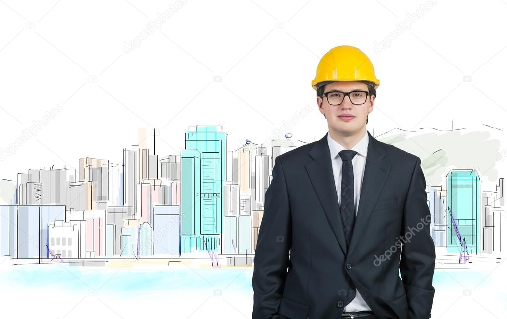 Ingenieur In Gelben Helm Stockfoto C Denisismagilov 65402721