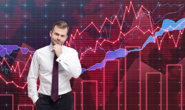 Trader is standing in front of the forex graph. A metaphor of international financial consulting. Red background.