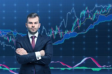 Trader and forex chart. A concept of prosperous portfolio management process.