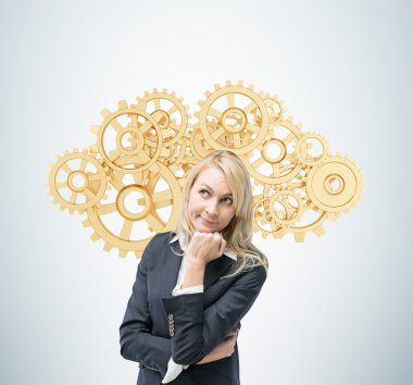 Beautiful blonde business woman is thinking about optimisation of the business process. A concept of business management solutions. Golden gears as a cloud. stock vector
