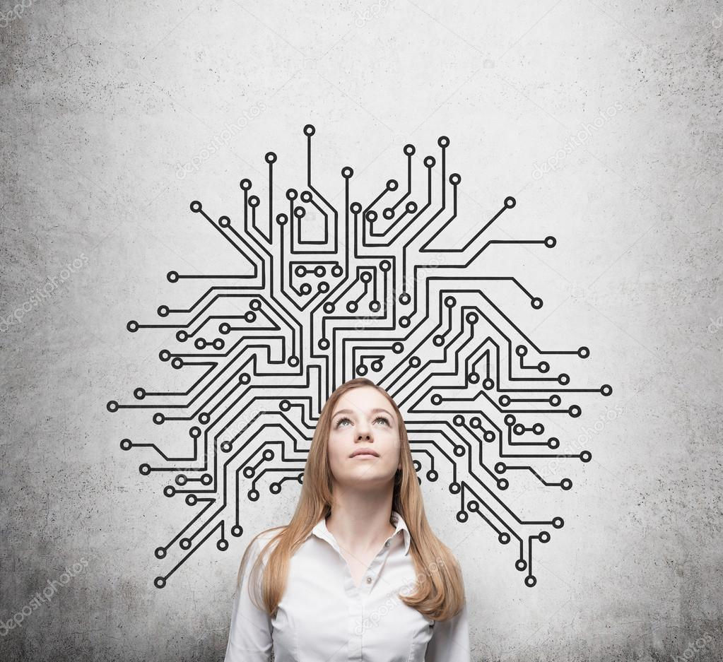 Technology Management Image: Beautiful Information Technology Specialist Is Thinking