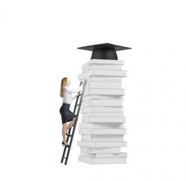 Young lady is climbing up to get university degree. Pile of books and a graduation hat as a prize. Isolated.