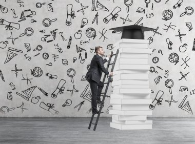 A student is climbing up to get university degree. Pile of books and a graduation hat as a prize. Concrete background with educational icons.