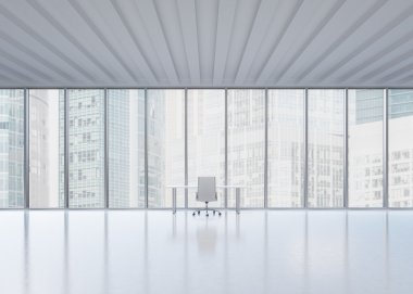 A workplace in a modern panoramic office in New York City. A concept of the financial consulting services.