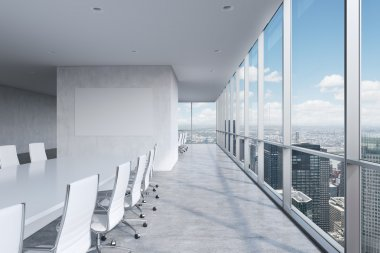 Modern panoramic conference room. A white rectangular table and chairs around it. New York City view.