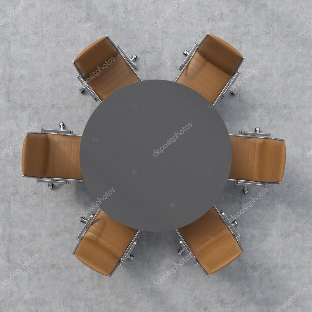 Vue de dessus d 39 une salle de conf rence une table ronde for Table vue de haut