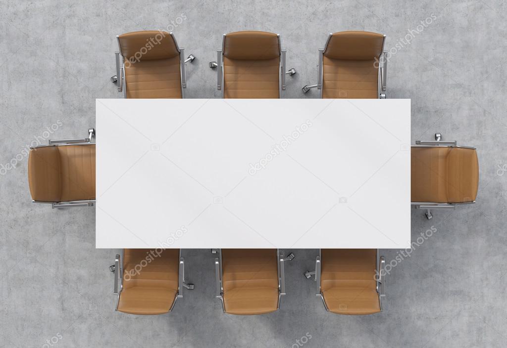 draufsicht auf einen konferenzraum. ein weißer rechteckiger tisch, Esszimmer dekoo