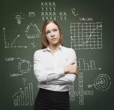 Business lady is thinking about optimisation of the business process. Graphs and flowcharts are drawn on the green chalk board.
