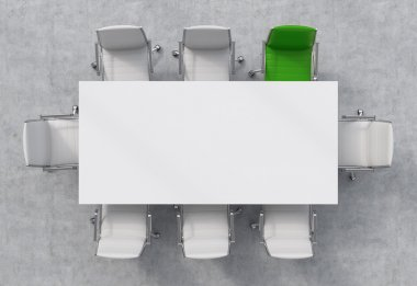 Top View of a conference room. A white rectangular table and eight chairs around, one of them is green. Office interior. 3D rendering.