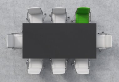 Top View of a conference room. A black rectangular table and eight chairs around, one of them is green. Office interior. 3D rendering.