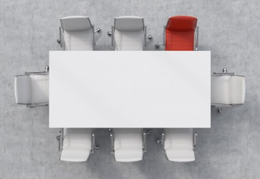 Top View of a conference room. A white rectangular table and eight chairs around, one of them is red. Office interior. 3D rendering.