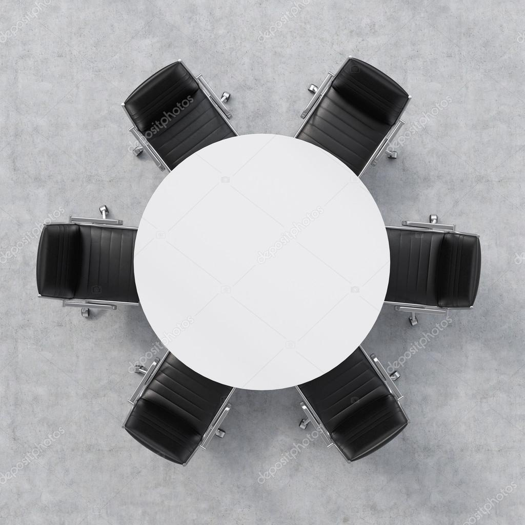 Top View Of A Conference Room White Round Table And Six Chairs Around