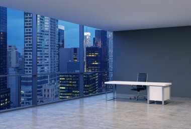 A workplace in a modern corner panoramic office with New York evening view. A black leather chair and a white table. A concept of financial consulting services. 3D rendering.