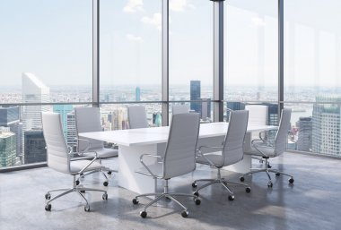 Panoramic corner conference room in modern office in New York City. White chairs and a white table. 3D rendering.