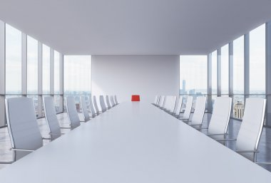 Panoramic conference room in modern office in New York City. White chairs and a white table. A red chair in a head of the table. 3D rendering.