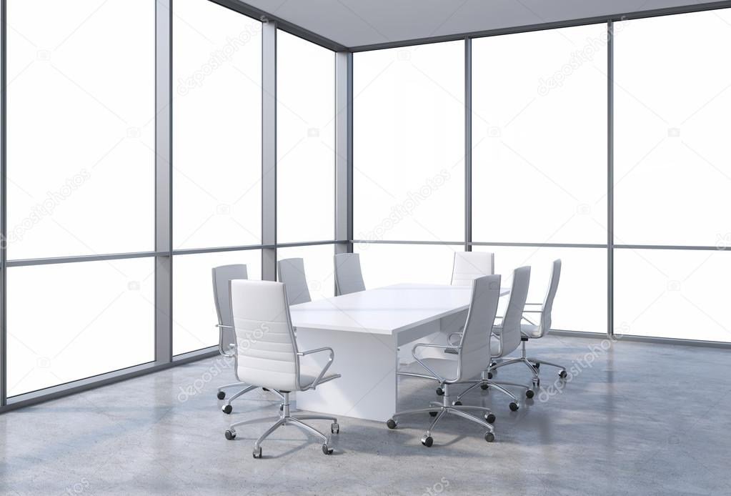 Panoramic Corner Conference Room In Modern Office Copy Space View - Corner conference table