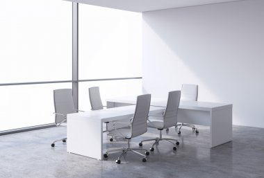 Modern office interior with huge windows and cope space panoramic view. White leather on the chairs and a white table. A concept of CEO workplace. 3D rendering.