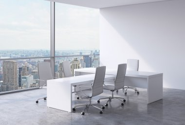 Modern office interior with huge windows and New York panoramic view. A concept of CEO workplace. 3D rendering.