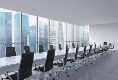 Panoramic conference room in modern office, Singapore view. Black leather chairs and a long white table. 3D rendering.