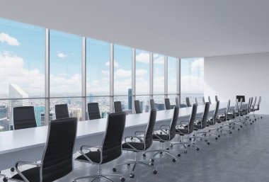 Panoramic conference room in modern office, New York City view. Black leather chairs and a long white table. 3D rendering.