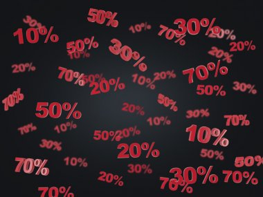 The concept of the black Friday, discount and sale. Collection of discount numbers 10% 20% 30% 50% 70%. Black background.