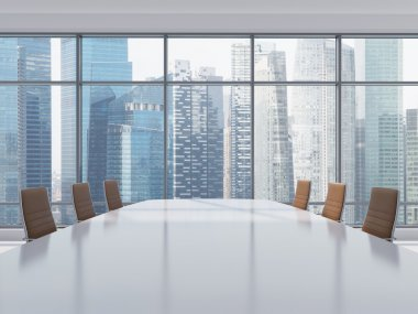 Panoramic conference room in modern office in Singapore. Brown leather chairs and a table. 3D rendering.