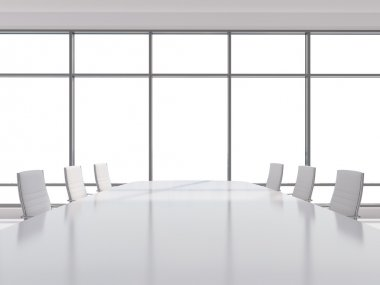 Panoramic conference room in modern office, copy space view from the windows. white leather chairs and a white table. 3D rendering.