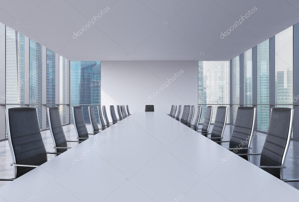 Panoramic conference room in modern office singapore view black leather chairs and a white table 3d rendering photo by denisismagilov