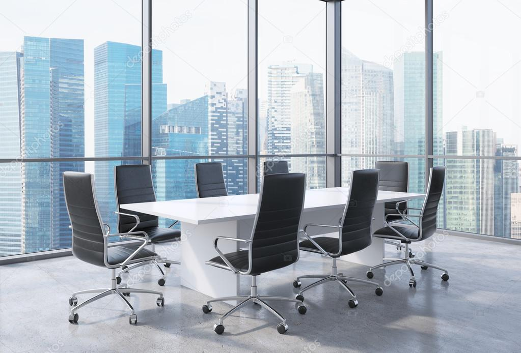 Panoramic Conference Room In Modern Office In Singapore Black - Black conference room table