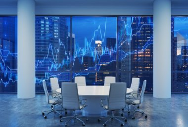 Panoramic conference room in modern office, cityscape of New York skyscrapers at night, Manhattan. Financial chart is over the cityscape. White chairs and a white round table. 3D rendering.