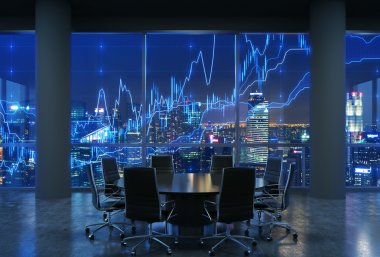 Panoramic conference room in modern office, cityscape of New York skyscrapers at night, Manhattan. Financial chart is over the cityscape. Black chairs and a black round table. 3D rendering.