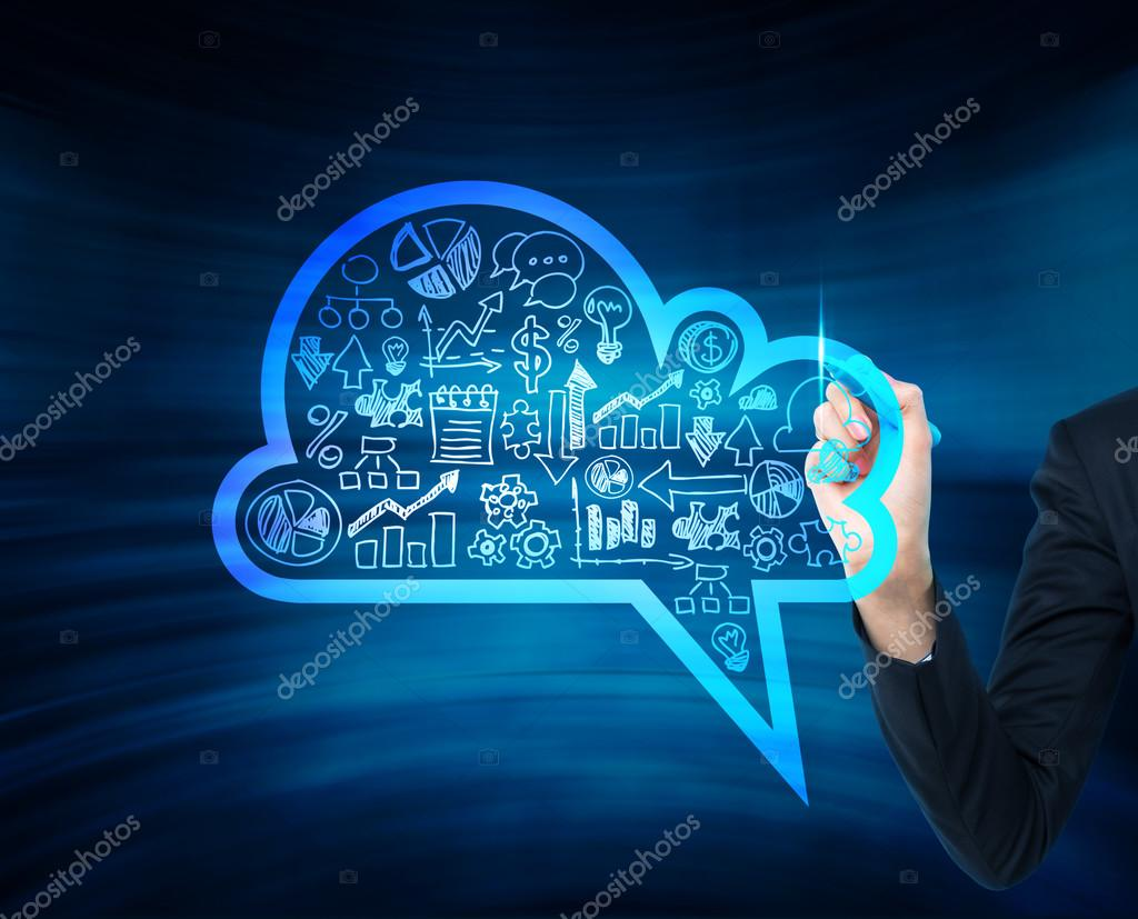 A woman's hand is drawing a cloud with business icons on the glass screen. A concept of new digital business opportunities.
