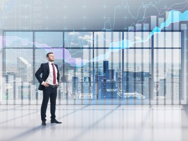Full-length confident person in formal suit. A modern panoramic office with New York city view and forex chart. A concept of the asset management.
