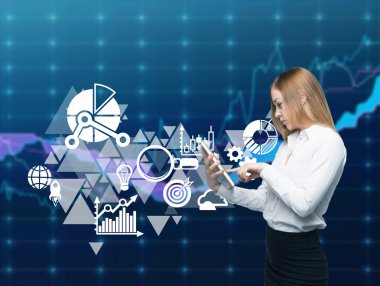 Business woman is browsing the quotes on stocks in the Internet. Portfolio management icons are drawn over the forex chart background.