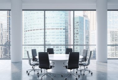 Panoramic conference room in modern office, Moscow International Business Center view. Black chairs and a white round table. 3D rendering.