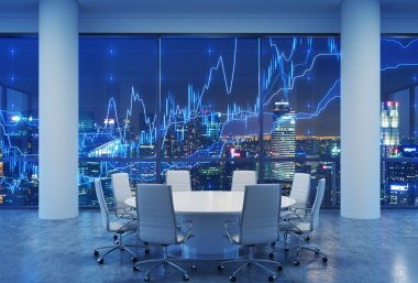 Panoramic conference room in modern office, cityscape of Singapore skyscrapers at night. Financial chart is over the cityscape. White chairs and a white round table. 3D rendering.