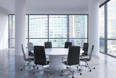 Panoramic conference room in modern office in Moscow business centre, so-called Moscow-City. White chairs and a white round table. 3D rendering.